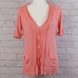 LOFT Coral Buttoned Cardigan
